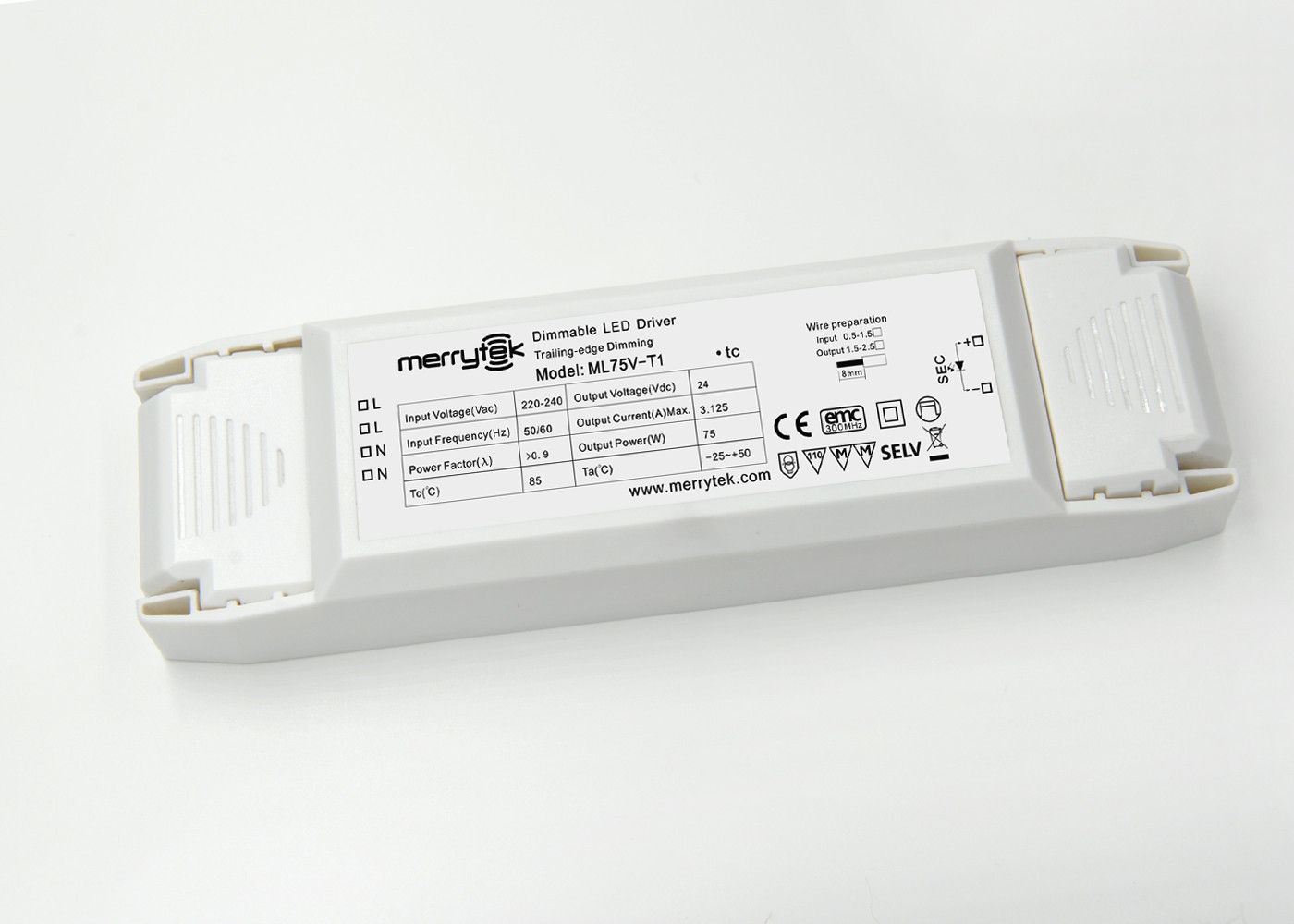 Non - flicker Dimmable 24V Constant Voltage LED Driver 75W  LED Strip Light Driver